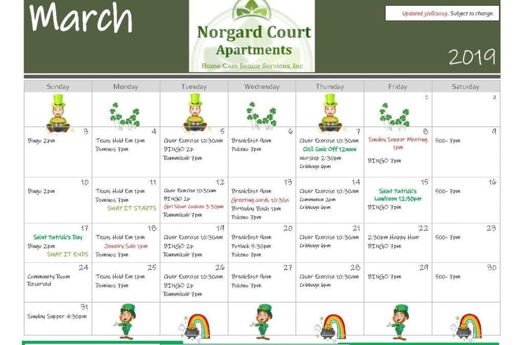 March 2019 Event Calendar